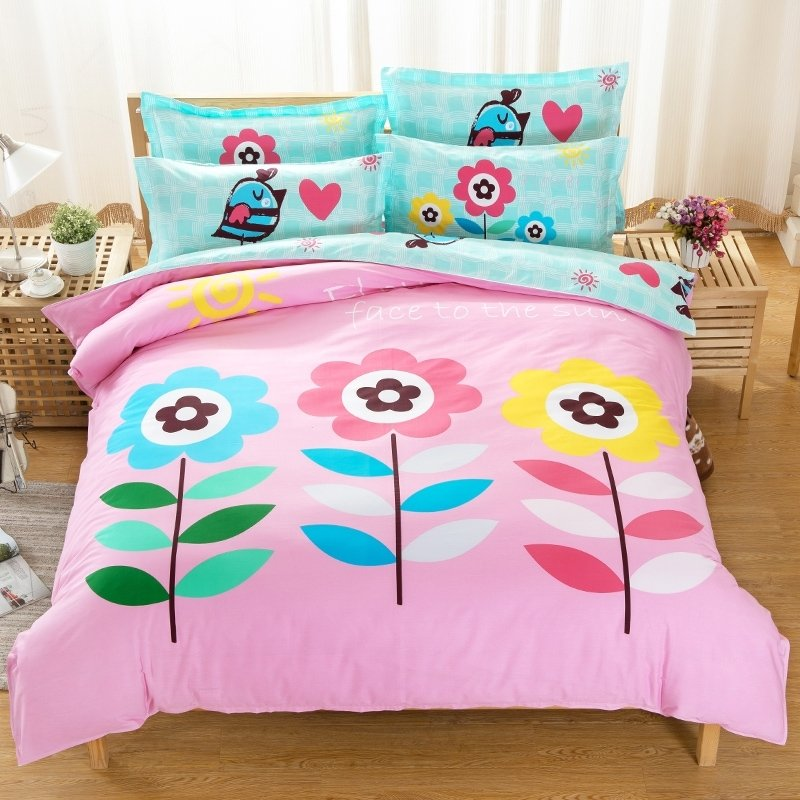 Hot Pink Aqua Blue Yellow Green and White Bright Colorful Flower Print Pastel Style Reversible 100% Cotton Full Size Bedding Sets