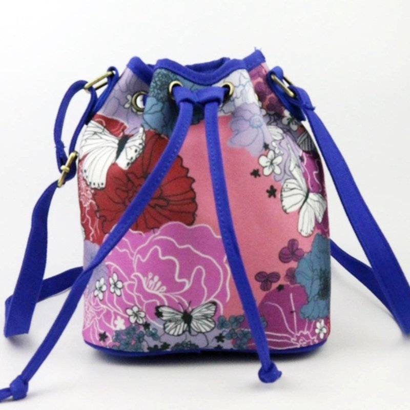 Lightweight Colorful Canvas Abstract Flower Print Vintage Sewing Pattern Girls Small Casual Bucket Drawstring Crossbody Shoulder Bag