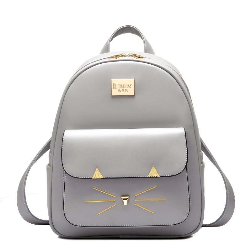 Silver Gray Patent Leather with Gold Embroidered Lady Travel Backpack Durable Sewing Pattern Zipper Preppy School Campus Book Bag