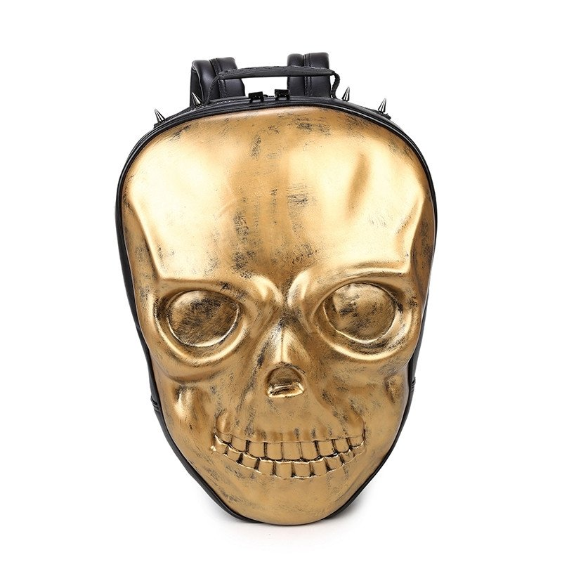 Metallic Gold Leather Spike Rivet Studded Travel Backpack Personalized Punk  Rock and Roll Style Embossed Skull-shaped Boys School Book Bag 66ea9996f0284