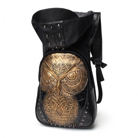 Black Embossed Leather Gold Owl Pattern Men Travel Laptop Backpack Personalized Spikes Skull Rivet Studded School Book Bag with Hat