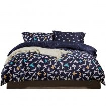 Upscale Deep Blue Aqua Yellow and White Bird Print Abstract Design Unique 100% Egyptian Cotton Full, Queen Size Bedding Sets