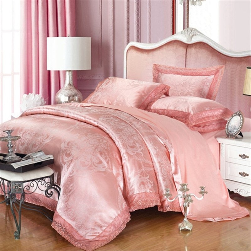 Pale Pink Sparkly Gothic Pattern Sexy Lace Design Cute Girly Elegant Girls Upscale Jacquard Satin Full, Queen Size Bedding Sets