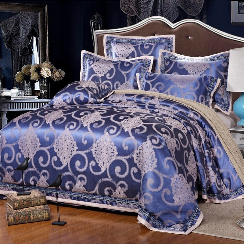 Midnight Blue and Silver Sparkle Pattern Tribal Inspired Western Style Luxury Jacquard Satin Full, Queen Size Bedding Sets