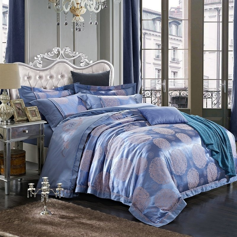 Luxury Royal Blue and Silver Aboriginal Pattern Polka Dot Design Sequin Embroidered Design Jacquard Satin Full, Queen Size Bedding Sets