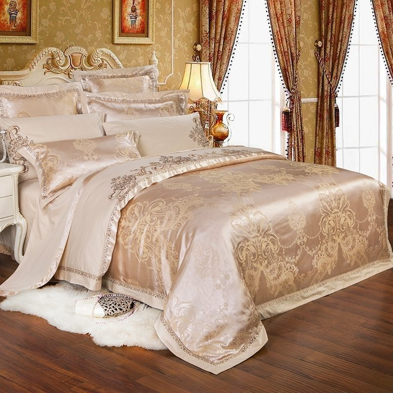 Boutique Champagne Gold Ethnic Inspired Indian Tribal Pattern Embroidered Design Jacquard Satin Full, Queen Size Bedding Sets