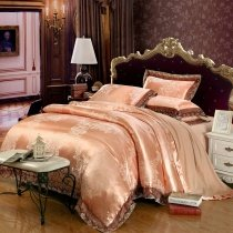 Rose Gold Indian Tribal Pattern Glitter Style Bohemian Chic Classic Lace Design Luxury Jacquard Satin Full, Queen Size Bedding Sets