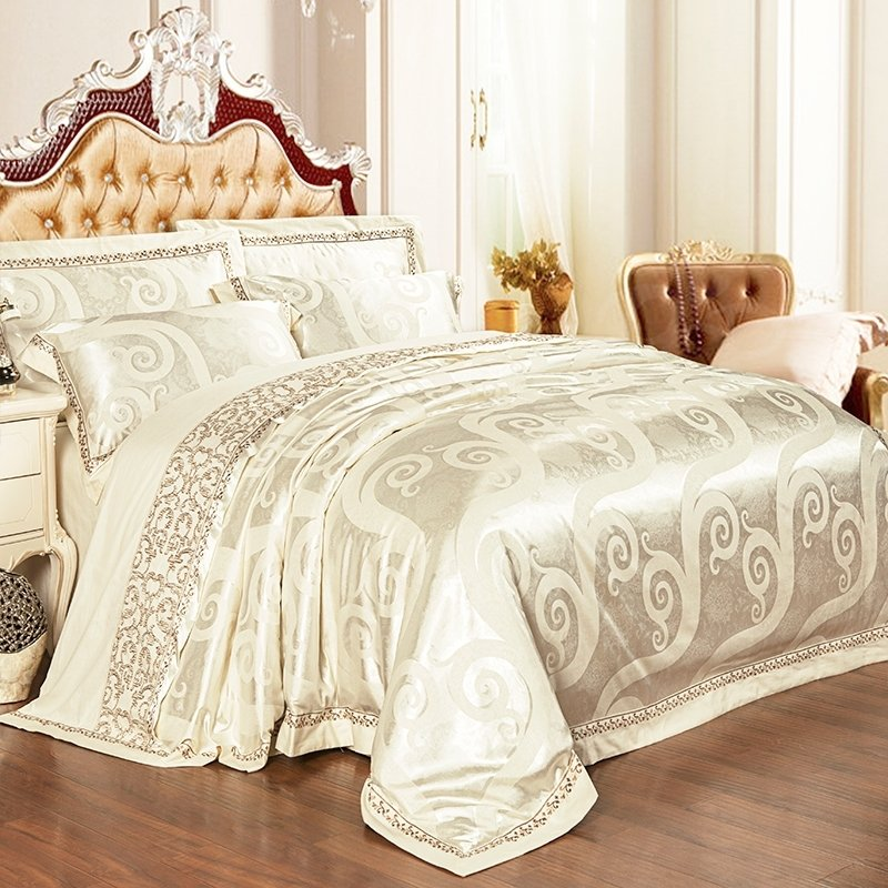 Noble Excellence Metallic Gold Scroll Pattern Glitter Embroidered Design Jacquard Satin Fabric Full, Queen Size Bedding Sets
