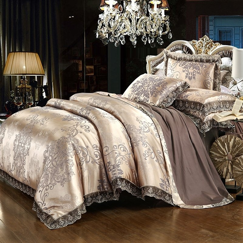 Gold and Coffee Rococo Pattern Abstract Design Vintage BOHO Style Jacquard Satin Full, Queen Size Bedding Sets for Adult