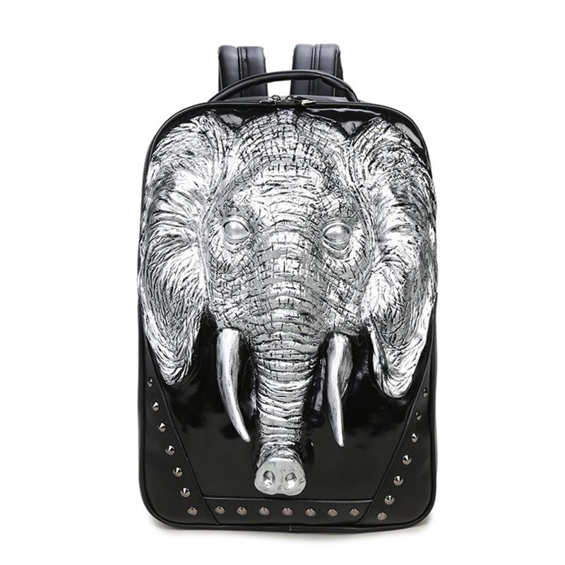 Black Patent Leather with Metallic Silver Elephant Boys School Campus Book Bag Punk Style Rivet Studded Casual Travel Laptop Backpack
