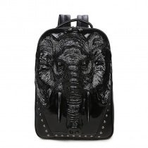 Punk Style Black Patent Leather Rivet Studded Travel Laptop Backpack Personalized Elephant Cool Boys Preppy School Campus Book Bag