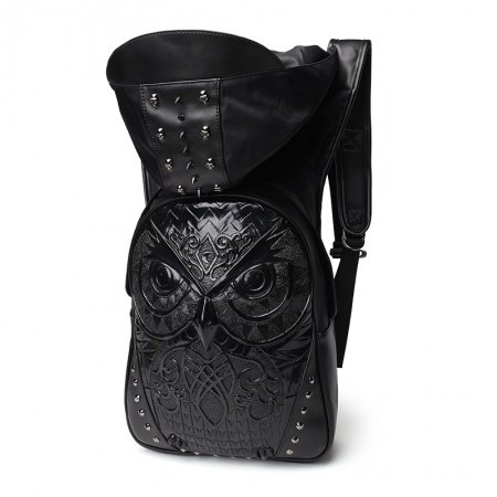 Personalized Black Patent Leather Cool Boys School Book Bag Punk Style Embossed Owl Spikes Skull Rivet Studded Travel Backpack with Hat