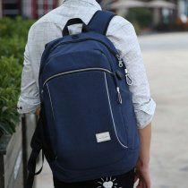 Lightweight Solid Dusty Blue Polyester Masculine Casual Travel Laptop Backpack Durable Sewing Pattern Boys Large School Campus Book Bag