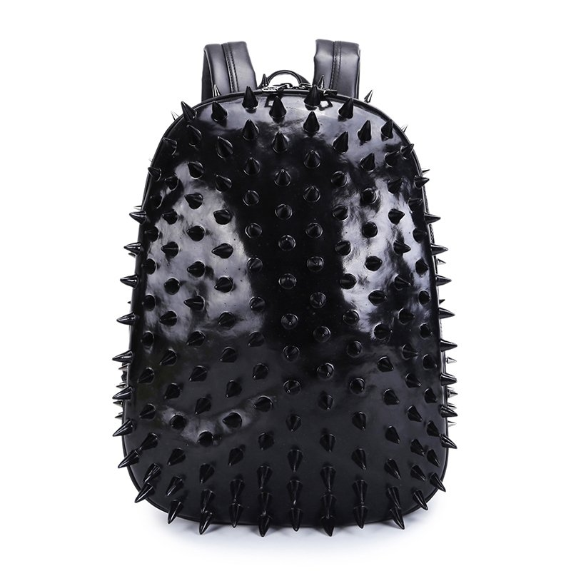 Personalized Black Patent Leather Cool Boys School Book Bag Punk Rock and Roll  Style Spikes Rivet Studded Travel 14 Inch Laptop Backpack 9333982ec84da