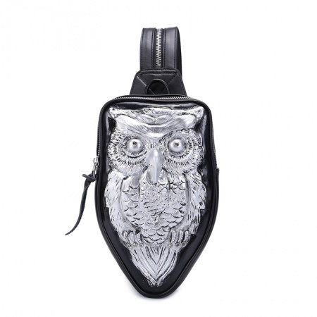 Black Patent Embossed Metallic Silver Owl Lady Crossbody Shoulder Chest Bag Punk Rock and Roll Rhinestone Small Travel Sling Backpack