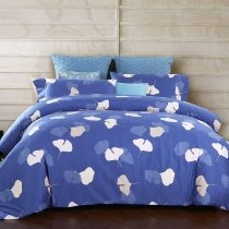 Unique Blue and White Leaf Print Funky Shabby Chic Full, Queen Size Bedding Sets