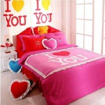 Girls Heart with Ruffle Romantic Elegant Full, Queen Size Bedding Sets