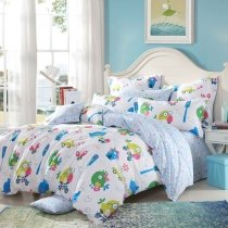 Blue Green Yellow and Pink Colorful Bird Print Animal Themed Funky Style Twin, Full, Queen Size Bedding Sets for Girls and Boys