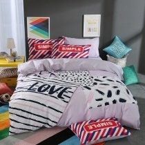 Black White and Grey Stripe and Leopard Print Unique Hipster Style Reversible 100% Cotton Full, Queen Size Bedding Sets