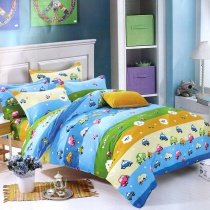 Sky Blue Lime Green and Yellow Car Print Funky Cartoon Themed Twin, Full Size Bedding Sets for Kids