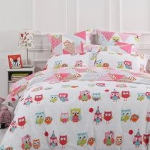 Blue Pink Red White and Green Night Owl Print Cute Girls Twin, Full, Queen Size Bedding Sets