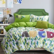 Personalized Trendy Teal Blue White and Yellow-green Military Camouflage Print Durable Luxury 100% Cotton Full, Queen Size Bedding Sets