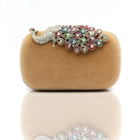 Coffee Brown Velvet Bling Rhinestone Women Small Evening Clutch Gorgeous Peacock PatternMagnetic Closure Chain Crossbody Shoulder Bag