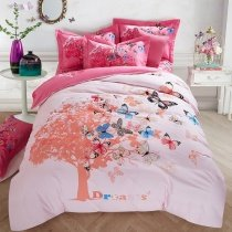 Dusty Pink Coral Black and Blue Girls Butterfly Print Modern Chic Elegant 100% Brushed Cotton Full, Queen Size Bedding Sets