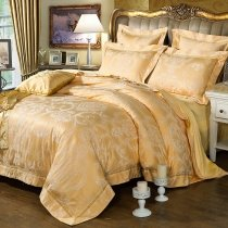 Trendy Royal Gold Victorian Gothic Pattern Western Style Luxury Jacquard Satin Full, Queen Size Bedding Sets