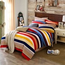 Trendy Colorful Rugby Striped Print Traditional Sophisticated Beautiful 100% Brushed Cotton Full, Queen Size Bedding Sets