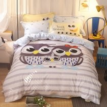 Beautiful Grey Black White and Blue Cute Owl Print Animal Themed Funky Style 100% Cotton Twin, Full Size Bedding Sets for Kids