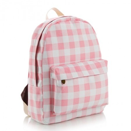Sturdy Pink and White Canvas Girls Preppy School Backpack Vogue Gingham Plaid Print Anti Theft Zipper Junior Medium Campus Book Bag