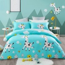 Tiffany Blue Yellow Black and White Giraffe Animal Print Hipster and Cute 100% Organic Cotton Twin, Full, Queen Size Bedding Sets