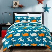 Ocean Fish Shark and Whale Print 100% Cotton Twin, Full, Queen Size Bedding Sets