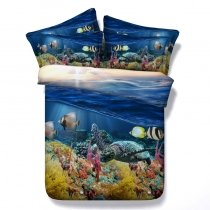 Beautiful Under the Sea World Sea Turtle, Fish and Coral Print Ocean Themed Twin, Full, Queen, King Size Bedding Sets