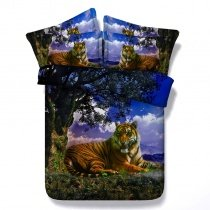 Blue Green and Brown Forest Tiger Print Jungle Safari Animal Themed Kids Twin, Full, Queen, King Size Bedding Sets
