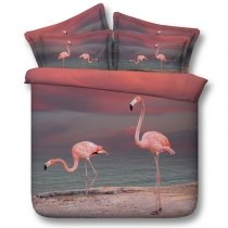 Girls Pink and Slate Gray Flamingo Print Beautiful 3D Design Twin, Full, Queen, King Size Bedding Sets