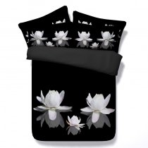 Beautiful Black and White Oriental Style Lotus Print Elegant Twin, Full, Queen, King Size Bedding Sets