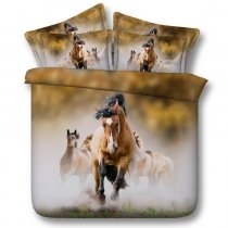 Brown Green and White Wild Horse Print Animal Themed 3D Design Twin, Full, Queen, King Size Bedding Sets