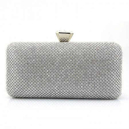 Silver Gray Western Bling Rhinestone Women Small Evening Party Clutch Vintage Lock Closure Chain Bride Wedding Crossbody Shoulder Bag