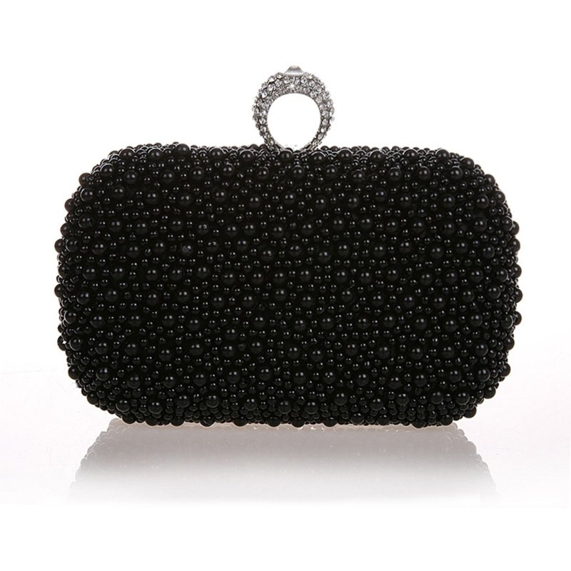 Black Pearl Beaded Bling Rhinestone Women Small Hard Shell Evening Clutch Vintage Lock Closure Chain Wedding Party Crossbody Shoulder Bag