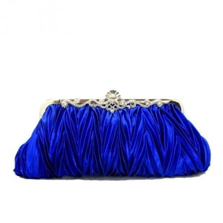 Royal Blue Ruffle Silk Satin Women Small Hard Shell Evening Clutch Magnetic Closure Bling Rhinestone Chain Crossbody Shoulder Bag