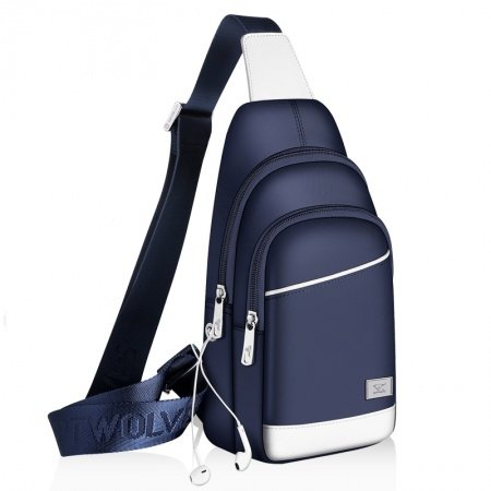 Royal Blue Oxford with White Leather Men Large Sling Backpack Sewing Pattern Sequin Travel Hiking Cycling Crossbody Shoulder Chest Bag