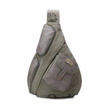 Vintage Slate Gray Waxed Canvas Masculine Cool Men Crossbody Shoulder Chest Bag Hipster Sewing Pattern Casual Travel Sling Backpack
