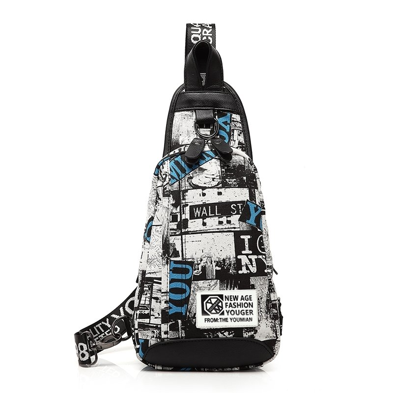 Black White Canvas with Leather Trim Boys Crossbody Shoulder Chest Bag Hipster Monogrammed Anti Theft Small Sling Travel Backpack