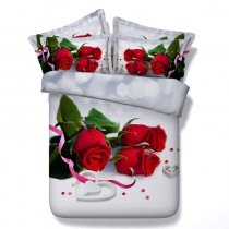 Gray Red Green and White Beautiful Yorkshire Rose Wedding Themed Twin, Full, Queen, King Size Bedding Sets