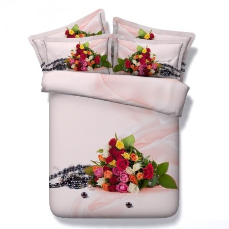 Boutique Black White Red Green and Blush Pink Vintage Rose Print Elegant Feminine Twin, Full, Queen, King Size Bedding Sets