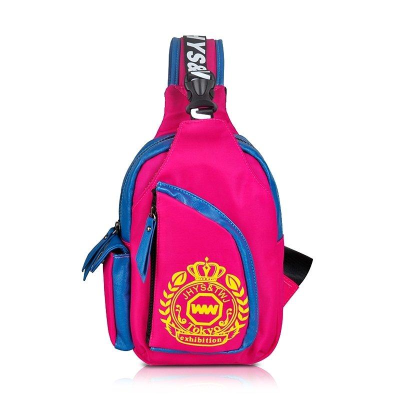 Lightweight Hot Pink Nylon Girls Anti Theft Crossbody Shoulder Chest Bag Trend Medallion Crown Monogrammed Print Sling Travel Backpack