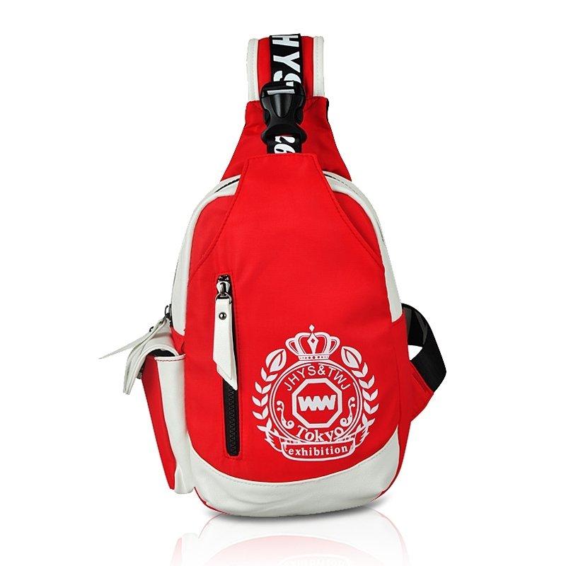 Red Nylon Masculine Men Anti Theft Crossbody Shoulder Chest Bag Medallion Crown Monogrammed Print Casual Travel Sling Backpack