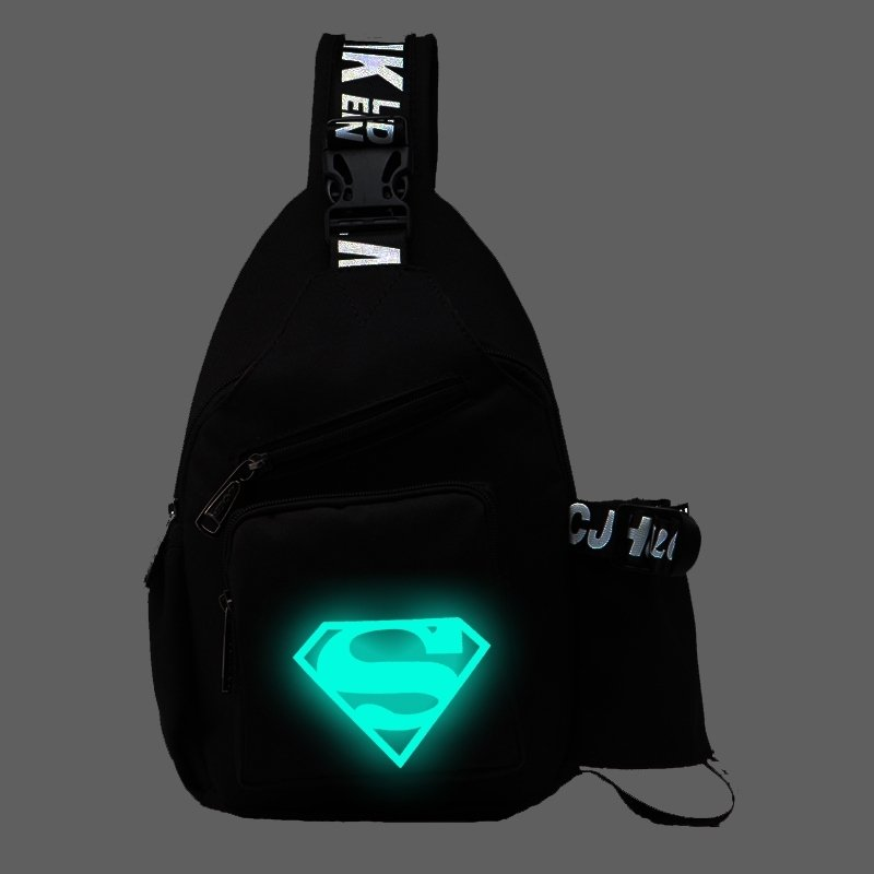 Black Oxford with Neon Green Diamond Print Boys Crossbody Shoulder Chest Bag Durable Sewing Pattern Small Casual Travel Sling Backpack